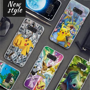 cool pokemons pika Pattern clear frame hard Back Case Cover for Samsung Galaxy S8 S8 Plus S9 S9Plus S6 S7 S5 Note 8 5