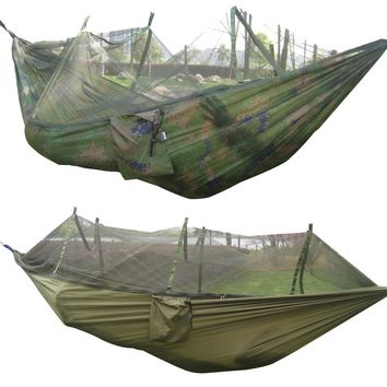260x130cm Portable Outdoor Garden Hammock Nylon + Mosquito Net Travel Camping Swing Canvas Stripe Hang Bed Hammock Army Green