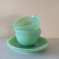 Mid Century Modern Fire King Jane Ray Jadeite Teacups or Coffee Cups with Saucers