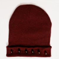 Spike studded burgundy hat