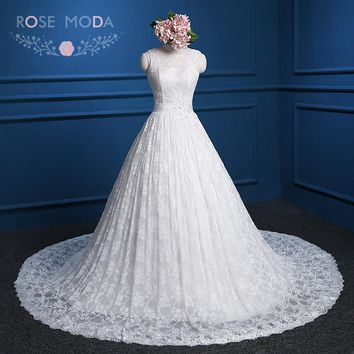 Rose Moda Lace Ball Gown Bermeo V Back Beaded Sash Cap Sleeves Vintage Wedding Dress Plus Size Real Photos