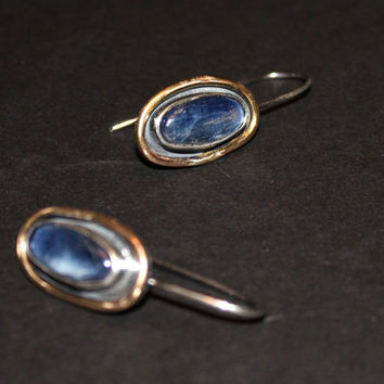 denim blue gemstone earrings - mixed metal earrings - kyanite earrings - blue earrings - silver gold earrings - rustic oxidized earrings