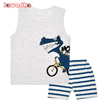 Cartoon Summer Baby Boy Clothing Set Tank Vest Top + Shorts Kid Boy Summer Sleeveless Set Children Boy Clothes Set