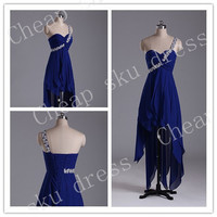 A-Line Sweetheart Lace-up High Quality Cheap Asymmetric Sash Chiffon Ruffle Short Bridesmaid /Party / Evening /Prom / Formal Dresses 2014
