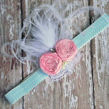 Sweet Dreams boutique couture headband - pink silk rosette with aqua chevron headband