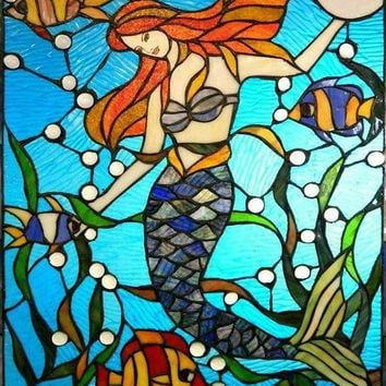 Mermaid Stained Glass Pattern 5d Diy Diamond Painting Cartoon Mosaic Home Decorating Round Round / Square Embroidery Art Kit