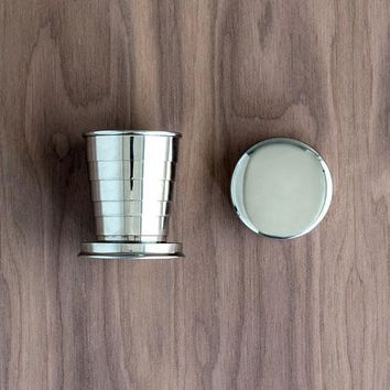 Collapsible Silver Shot Glass with Lid (Pack of 1)