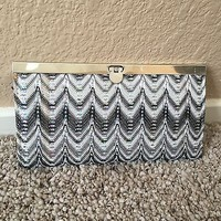 Black White And Grey Gray Sparkle Clasp Wallet