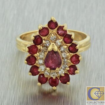 Vintage Estate 14k Solid Yellow Gold Diamond Pear Red Ruby Cocktail Cluster Ring