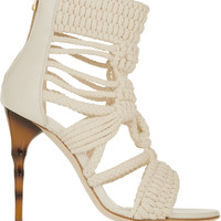 Balmain - Braided cotton and leather sandals