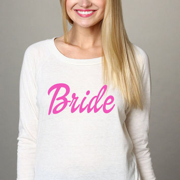 BRIDE Bubblegum Pink and White Soft Slouchy Comfortable Snow White Jersey Pullover Sweatshirt