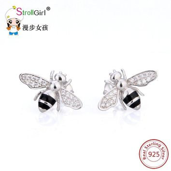 New Arrival Cute Tiny Bee Earring Jewelry 925 sterling silver Honey Bee Earrings fashion Stud Unique Earrings Jewelry for Women
