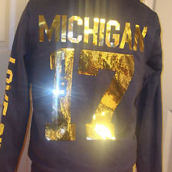 Victoria's Secret FUR UNIVERSITY OF MICHIGAN Sequin Hoodie Sweater Sweatshirt M
