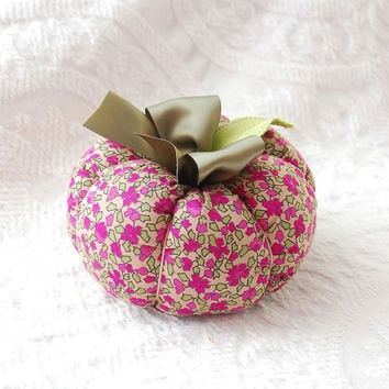 Fall Plush Boho Fabric Pumpkin in Upcycled Sage Green and Raspberry Floral Print