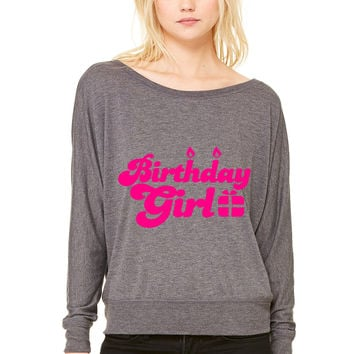 birthday girl new with present WOMEN'S FLOWY LONG SLEEVE OFF SHOULDER TEE