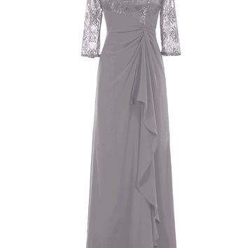 TDHQ Women's Long Chiffon Lace Ruched Cocktail Wedding Dress Mother Of Bride Dresses