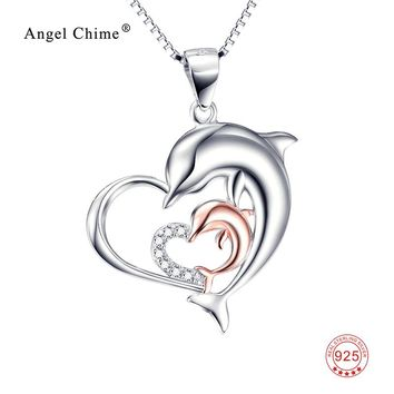 925 Sterling Silver Necklace Mother & Child Dolphin Love Heart Pendant Statement Necklaces Fashion Jewelry For Women