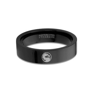 Mortal Kombat Dragon Symbol Engraved Black Tungsten Carbide Ring