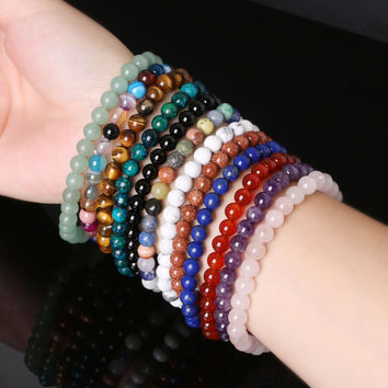 6mm Mix Color Choose Natural Stone Beads Bracelet with Elastic Rope