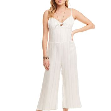 Women's Chaser Brand Beachy Linen Tie Front Smocked Jumpsuit