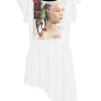 Mother Of Dragons Khaleesi Game Of Thrones Slanted Hem T-Shirt Top