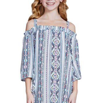 Pinc Cold Shoulder Printed Dress
