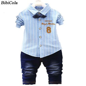Baby Clothing Sets Kids Clothes Spring Autumn Baby Sets Long Sleeve Sports Suits Bow Tie T-shirts Pants Boys Clothes