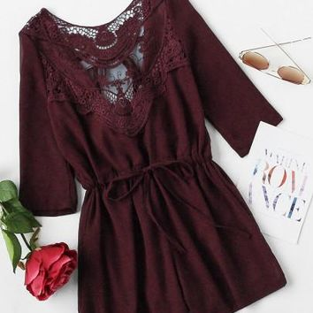 Lexi Lace Romper in Burgundy