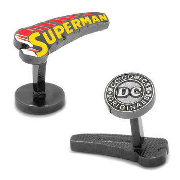 Vintage Superman Comic Book Cover Logo Cufflinks