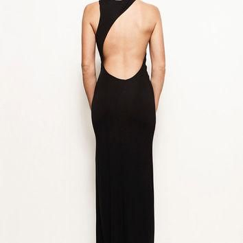 LAUREN - Grecian Backless Asymmetric Jersey Maxi Wedding Prom Dress Gown (Helmut Lang,