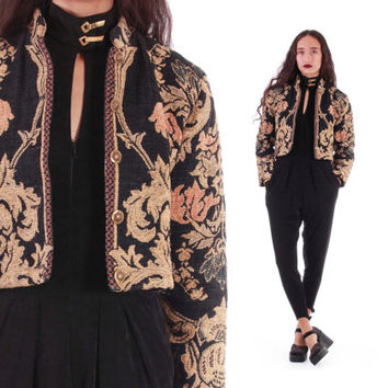 Cropped Tapestry Jacket Baroque Gold Black Boho Floral Velvet Unique Winter Fall Outerwear 90s Vintage Clothing Womens Size Small