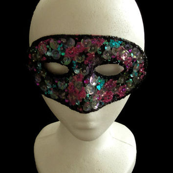 Colorful Hand Beaded Upcycled Vintage Mask, New Years Eve Masquerade Mask, Lace & Sequin Mask, Glitter Mask, Beaded Mask, Free US Shipping