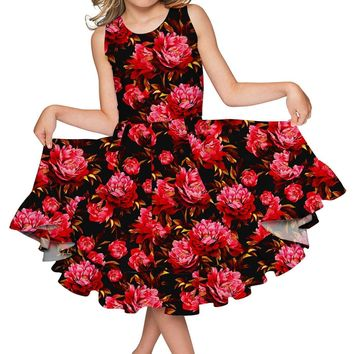 True Passion Vizcaya Fit & Flare Red Fancy Party Dress - Girls