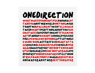 1d songlist (WITHOUT x-factor) - black&red text by sstilinski