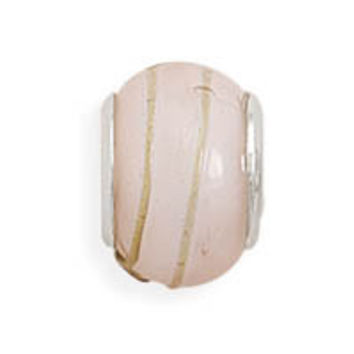 Pink Glass Bead with Tan Line Design
