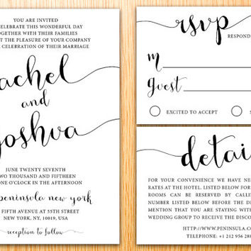 Personalized Printable Wedding Invitation Suite Simple Classic Minimal Modern Handwritten Script Wedding Set Customize Wedding Invite Set