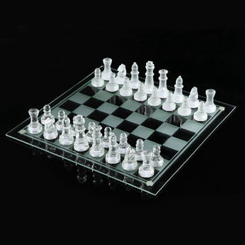 20*20cm Elegant New Solid Glass Chess With Checker Board Set K9 Matte And Clear Galss Chess Game Gift 1 Set K8356