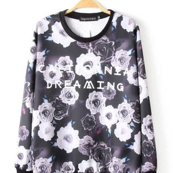 Black Floral and Graphic Print Sweatshirt