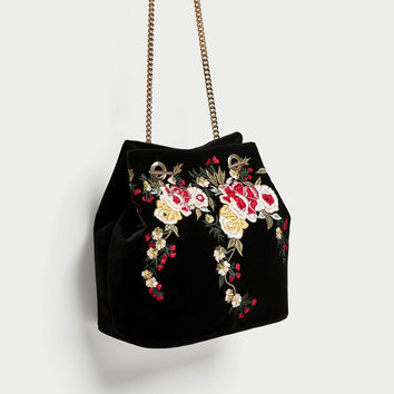 EMBROIDERED VELVET BUCKET BAG