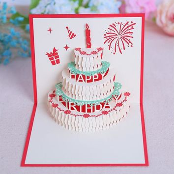 Happy Birthday Postcard Greeting Gift Cards Blank Paper 3D Handmade Pop Up Laser Cut Stereoscopic Greeting Card