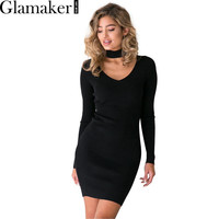 Glamaker 2016 Autumn halter sexy knitted dress Winter elegant women sweater dress Casual black vestidos short bodycon dresses