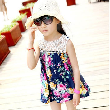 Kid Girl Lace Floral Flower Mini Dress Sundress One-piece Printed Vest Dress = 1958455108
