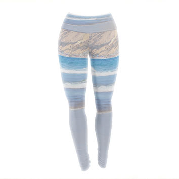 "Sylvia Coomes ""California Beach"" Blue Beige Yoga Leggings"