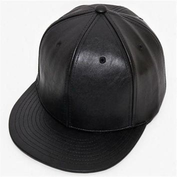 Adjustable DIY Blank PU Hats pure color plate PU hip hop hiphop flat along the leather baseball cap men and women hat