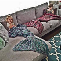 Hot! Mermaid fish tail blanket knitted handmade Children/Adult women sleeping swaddle air conditioning blankets sofa