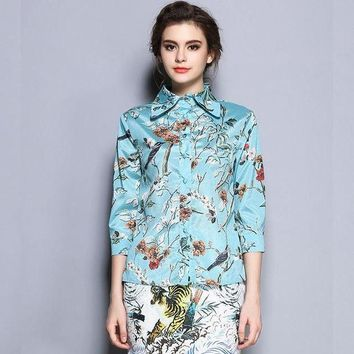VONE05F8 runway designer Women blousesfashion floral birds printed long sleeve blouse shirts tops for woman ladies