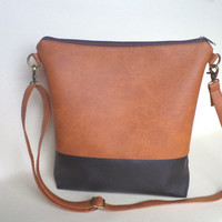 Two-tone shoulder bag / Handmade cross-body vegan bag
