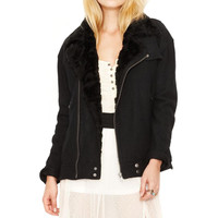 Free People Womens Textured Faux Fur Coat