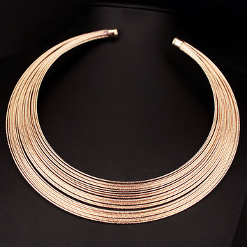 Fashion Personality Punk Jewelry Multilayer Metal Wire Neck Fit Torques Statement Jewelry Bib Collars Necklaces for Women X1644