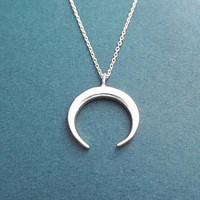 Horn, Silver, Necklace, Modern, Horn, Horseshoe, Necklace, Birthday, Best friends, Sister, Gift, Jewelry